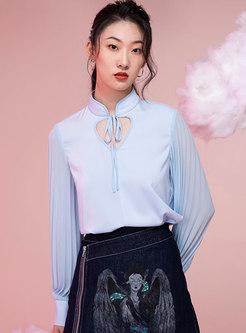 Mandarin Collar Openwork Pleated Sleeve Chiffon Blouse