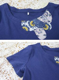 Print Patchwork Denim A Line T-shirt Dress