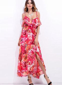 Boho Ruffle Print Split Beach Maxi Dress