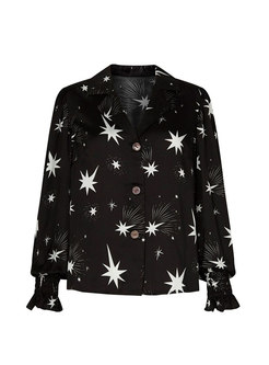 Black Stars Print Single-breasted Blouse