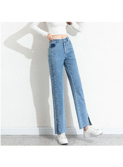 High Waisted Split Straight Cigarette Jeans