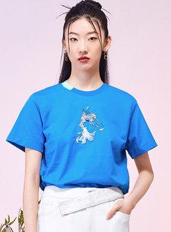 Crew Neck Sequin Cartoon Print T-shirt