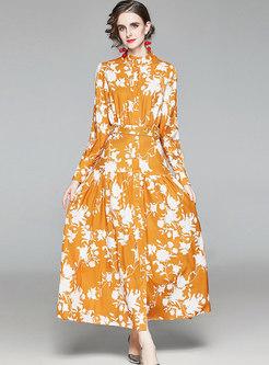Mock Neck Print Empire Waist Big Hem Maxi Dress