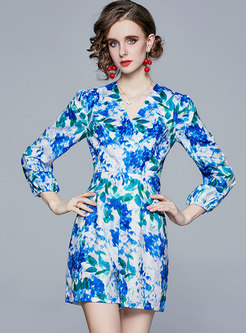 V-neck Puff Sleeve Print High Waisted Rompers