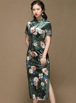 Mandarin Collar Print Velvet Cheongsam Dress