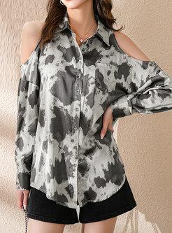 Cold Shoulder Tie-dye Loose Blouse
