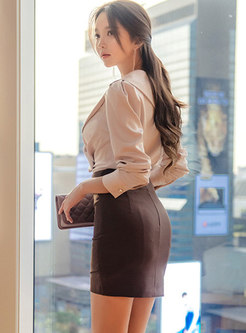V-neck Ruched High Waisted Bodycon Mini Skirt Suits