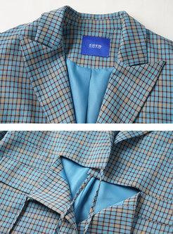 Notched Collar Plaid Flap Pocket Blazer