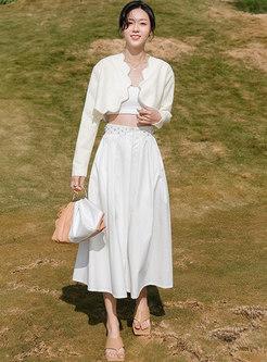 High Waisted Beaded A Line Long Skirt