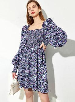 Square Neck Lantern Sleeve Floral Mini Dress