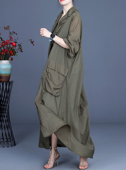 Casual Plus Size Straight Long Trench Coat