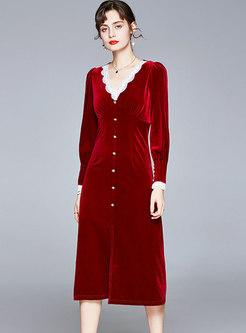 Red Lace Patchwork Velvet Cocktail Dress