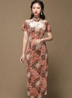 Mandarin Collar Print Velvet Sheath Cheongsam
