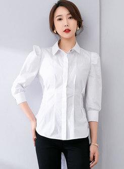 White Brief Puff Sleeve Self-tie Blouse