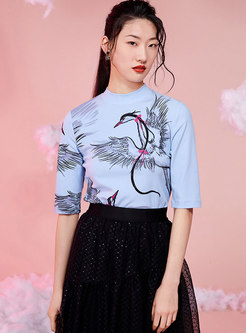 Mock Neck Half Sleeve Print Pullover T-shirt