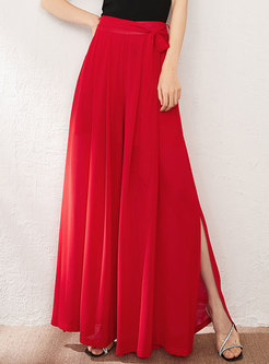 Solid High Waisted Slit Chiffon Palazzo Pants