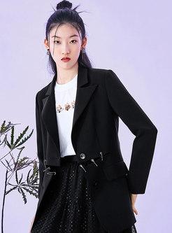 Black Ripped Straight Flap Pocket Blazer