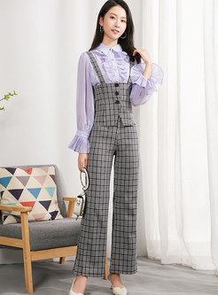 Flare Sleeve Lettuce Top With Cami & Plaid Straight Pants