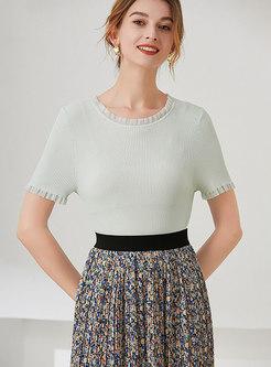 Short Sleeve Pullover Lettuce Knit Top