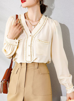 V-neck Pullover Lettuce Silk Blouse With Chain