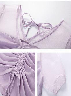 Transparent V-neck Drawstring Crop Blouse