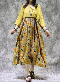 Plus Size Print Patchwork Shift Linen Dress