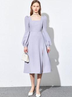 Square Neck Gathered Waist Split Midi Dress