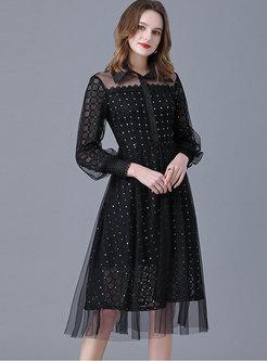 Black Turn-down Collar Lace Sequin Plus Size Dress