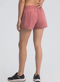 High Waisted Drawstring Stretch Sports Shorts