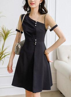 Black Polka Dot Mesh Patchwork A Line Dress