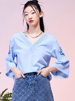 Flare Sleeve Embroidered Pullover Blouse