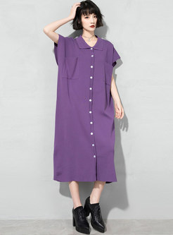 Casual Turn-down Collar Knitted Shift Shirt Dress
