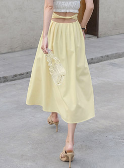 Solid High Waisted A Line Pleated Skirt