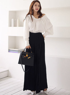 Off-the-shoulder Ruched Blouse & Palazzo Pants