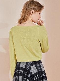 Long Sleeve Single-breasted Drawstring Knit Top