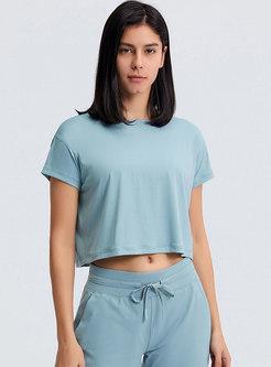 Casual Brief Short Sleeve Yoga Crop Top