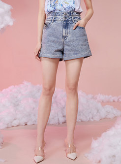 High Waisted Denim Embroidered Hot Pants