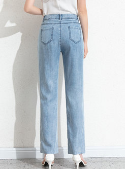 Blue Straight Slit Rough Selvedge Jeans