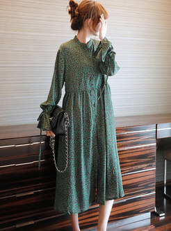 Long Sleeve Chiffon Loose Midi Shirt Dress
