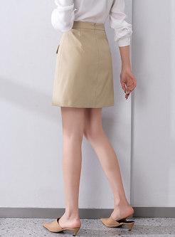 Casual High Waisted A Line Mini Skirt
