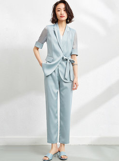 Chiffon Short Sleeve High Waisted Pants Suits