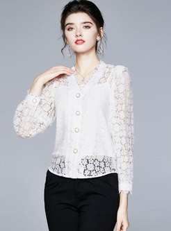White V-neck Openwork Lace Blouse With Cami