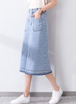 High Waisted A Line Split Denim Skirt