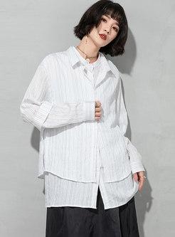 Turn-down Collar Stripe Patchwork Blouse