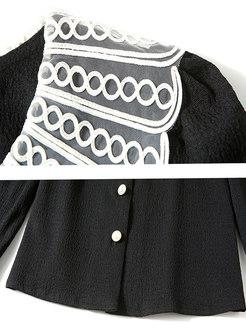 Black Cute Doll Collar Long Sleeve Blouse