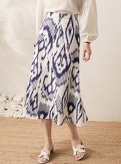 High Waisted Tie-dye A Line Maxi Skirt