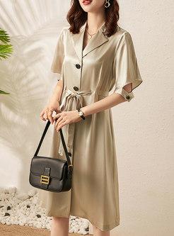 Lapel Short Sleeve Self-tie A Line Shirt Dress