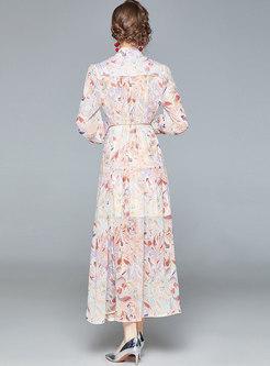 Mock Neck Print Chiffon Big Hem Maxi Dress