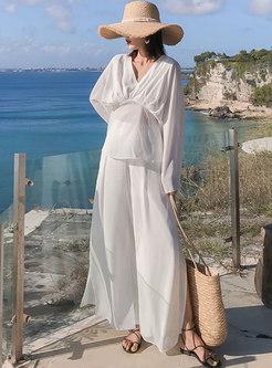 White V-neck Chiffon High Waisted Wide Leg Pant Suits