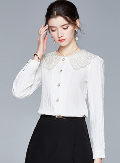 White Long Sleeve Single-breasted Blouse